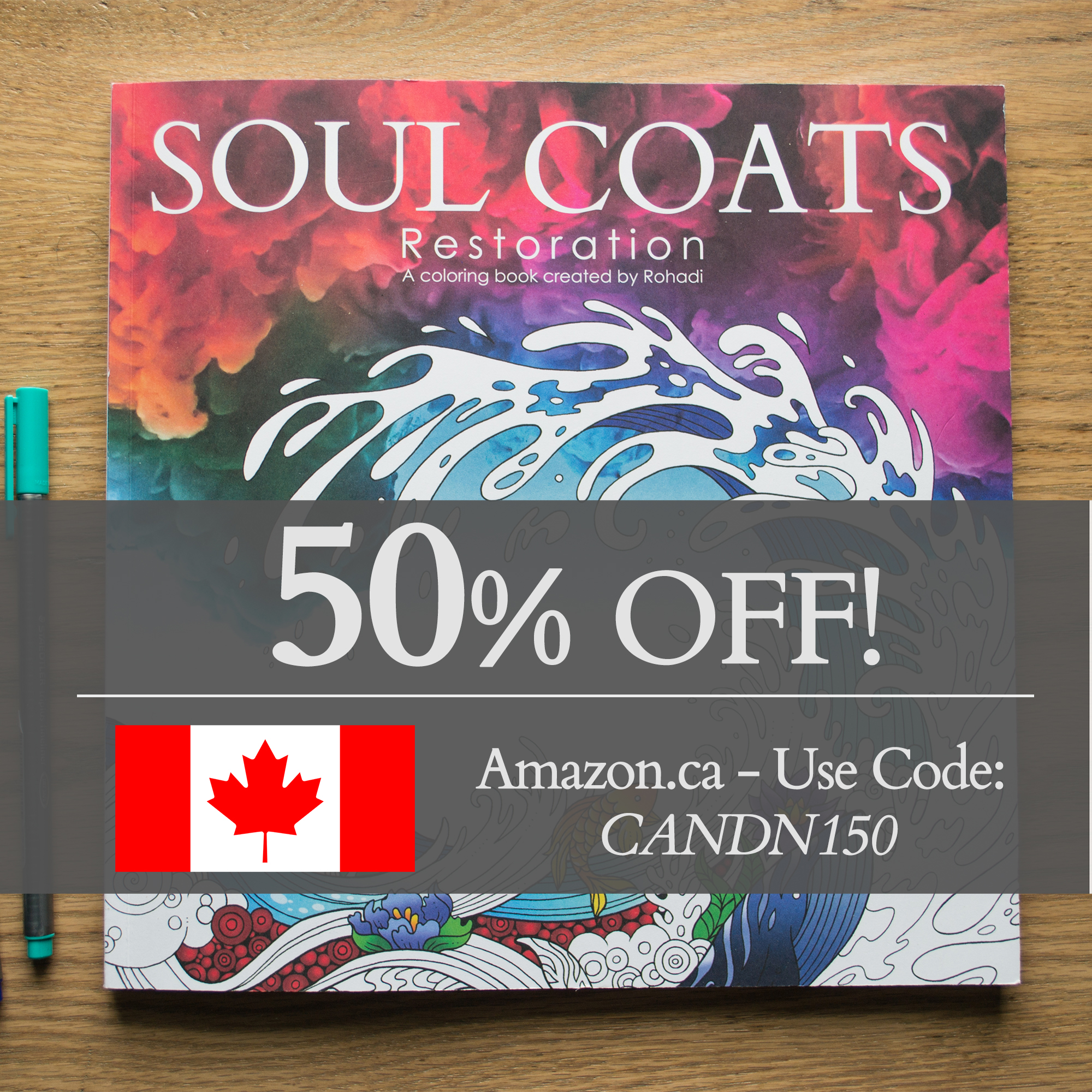 Canada Day 50% Discount | Soul Coats Adult Coloring Book